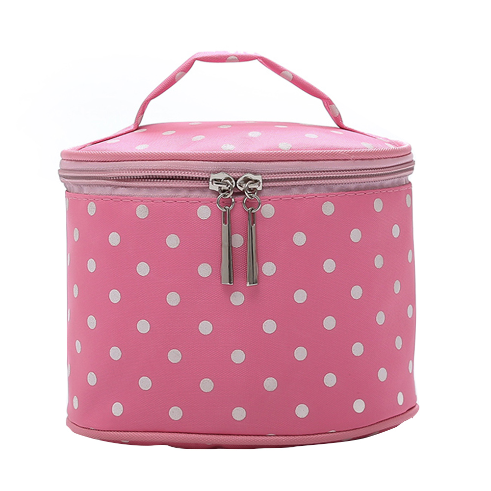 Vintage Nylon Polka Dot Round Cosmetic Storage Bag Travel Container Portable Makeup Bag Travel Necessity Beauty Case Wash Pouch