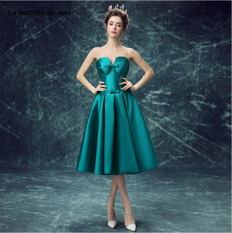 Tea Length Peacock Blue Dresses