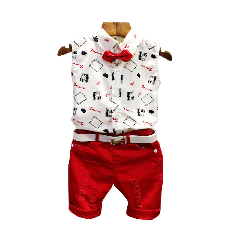 Summer Fashion Letter Casual Kids Sports Suit Children Clothing Set Sleeveless Bow Tie T-Shirt+Red Pants 2PCS baby Boys Clothes 2pcs children outfit clothes kids baby girl off shoulder cotton ruffled sleeve tops striped t shirt blue denim jeans sunsuit set