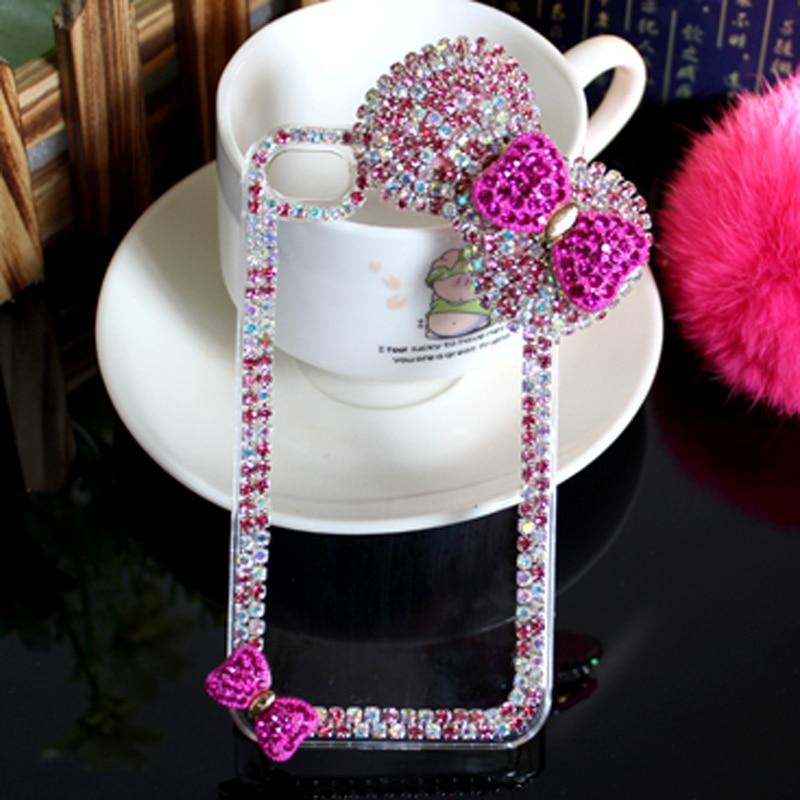 Lyxig 3D-båge knäppt diamantväska Rhinestone Crystal Bling Cover - Reservdelar och tillbehör för mobiltelefoner - Foto 6