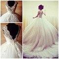 Designer Princess White V-Neck Backless Ball Gown Wedding Dresses Luxury Flower Beaded Bridal Gowns Long Dresses For Weddings