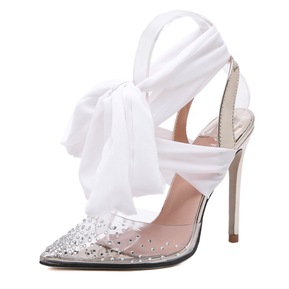 Transparent Crystal PVC Rhinestone Riband Ankle Strap Thin High Heels Women Sandals for Wedding Party