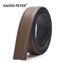 Belt Without Buckle For Men Leather Belt High Quality Male No Buckle Belts For Jeans Wide 3.4 CM Suit For Reversible Buckle