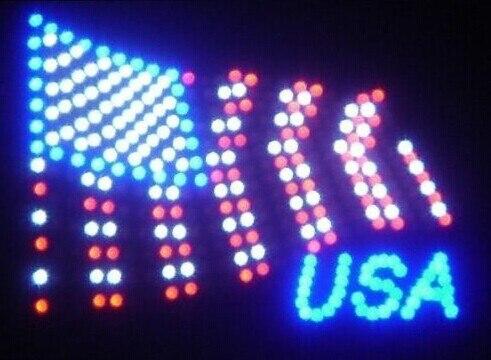 2017 Promotion offre spéciale graphique 19x19 pouces intérieur Ultra lumineux clignotant led USA drapeau signe