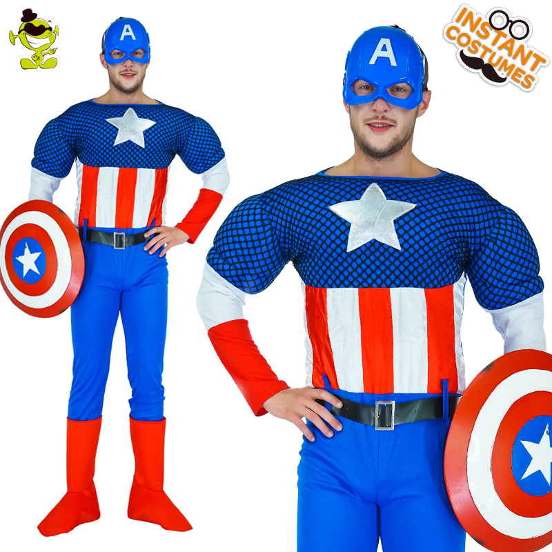 High Quality American captain Costume Superhero Costume With Jumpsuit&Shield&Belt For Halloween ...