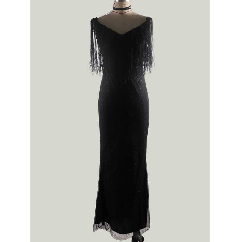 Черное блестящее вечернее платье с бахромой и кисточками, длинное платье в пол, Платье макси с низким вырезом, одежда для официальных мероприятий, женская одежда