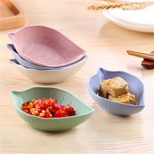 Kids Feed Tableware Dinner Plates Fruit Snack Sauce Bowl Food Icecream Container 4 Colors Creative Lovely Leaf Shape(China)