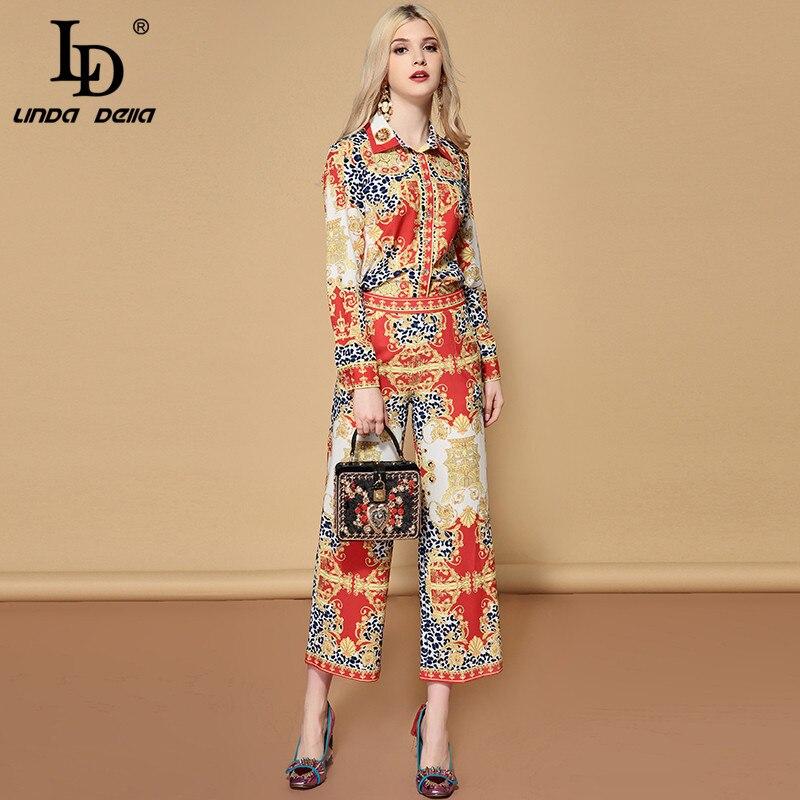 Femmes À 2 Imprimées Multi Della Deux Vintage Manches De Ld Costumes Longues Designer Pantalon Blouses Ensemble Ensembles Mode Pièces Linda xvSXfn6z