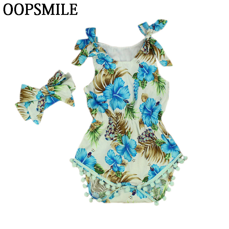 Summer printing Flower Sleeveless Baby Girls Romper Headband Playsuit Set Elastic Waist Newborn Baby Clothes Baptism Para Bebe cute newborn baby girl bodysuit headband outfits floral sunsuit clothes flower infnat toddler girls summer 3pcs set playsuit
