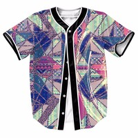 Abstract Color Squares Men Sport Baseball Jerseys New Hip Hop Streetwear US Size Buttons Homme 3D