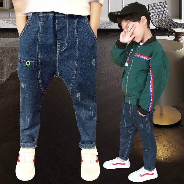 Boys denim pants 2018 autumn kids clothing big boys jeans cotton trousers baby children harem roupas infantis menina leggings Boys Jeans