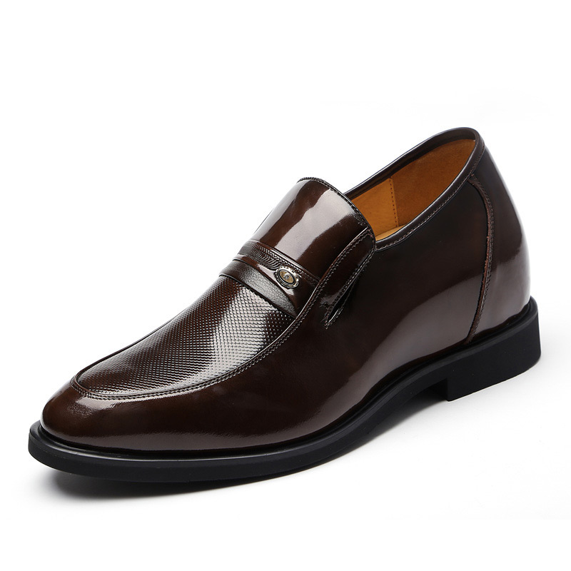 Fashion Men's Elevator Shoe Man Height Increasing 8 CM Slip on Leather Dress Formal Shoes