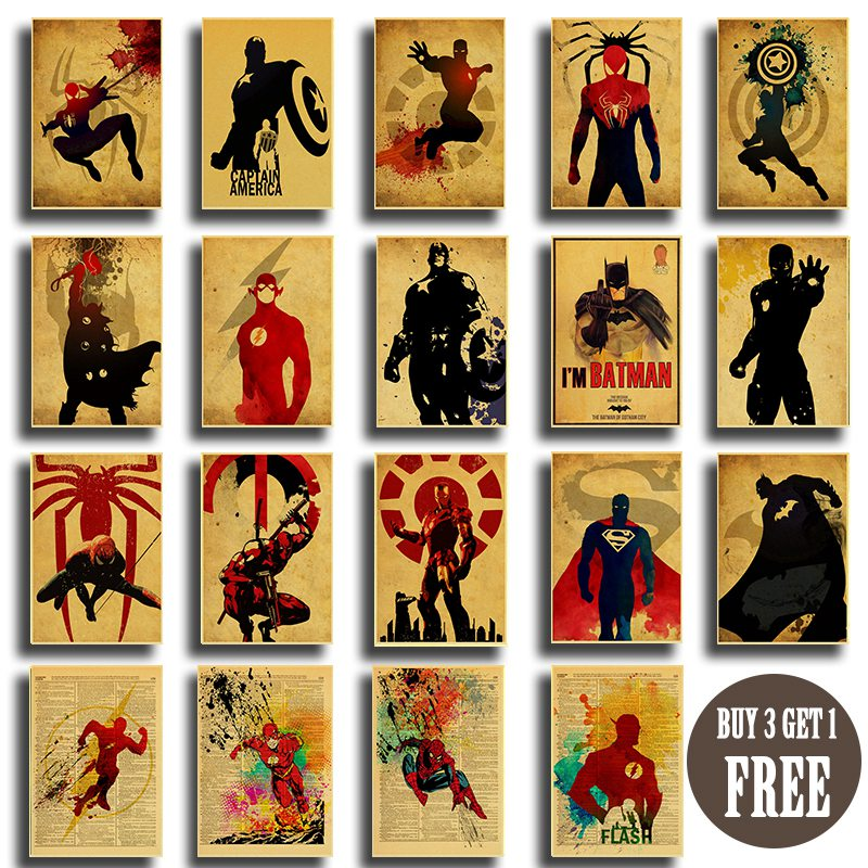 Bar Painting Poster Wall-Stickers Spiderman Art-Prints Batman Iron-Man Vintage Marvel Dc