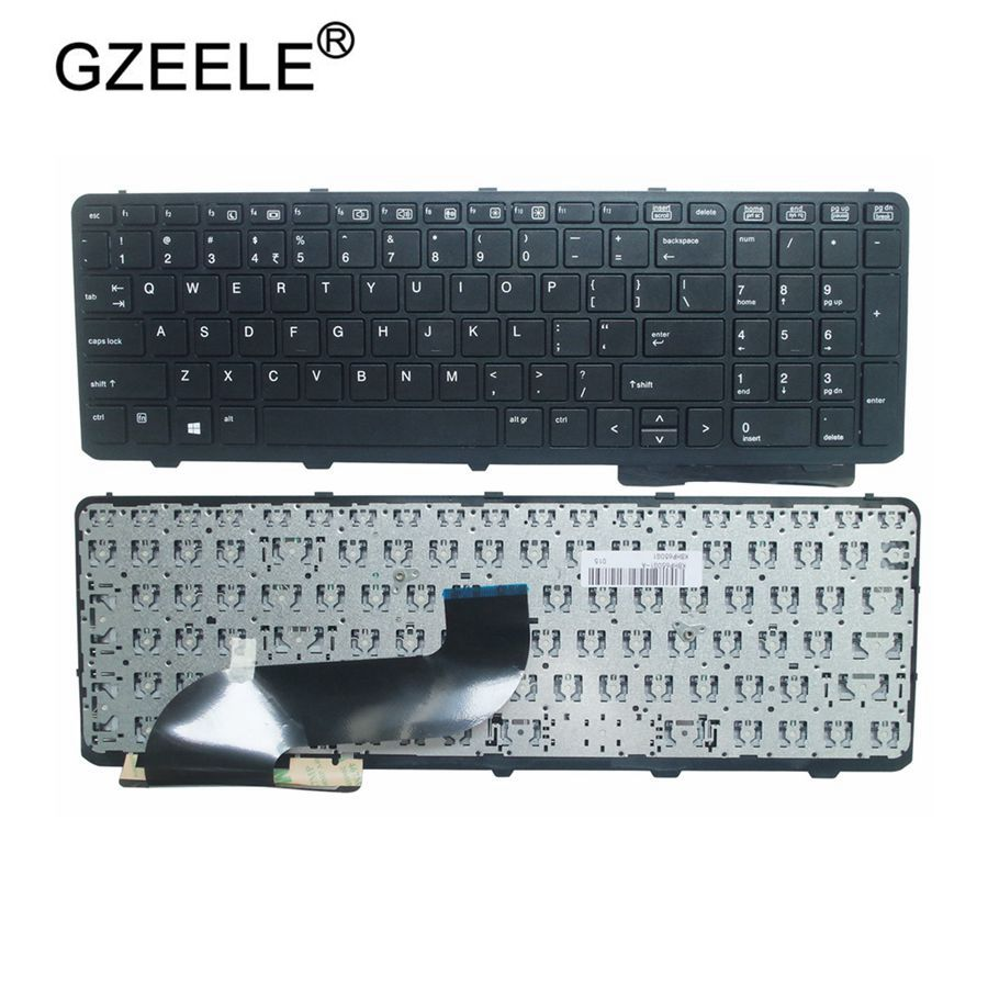 GZEELE English NEW Keyboard For HP ProBook 650 G1 655 G1 US With Frame Laptop Keyboard Black 738697-001