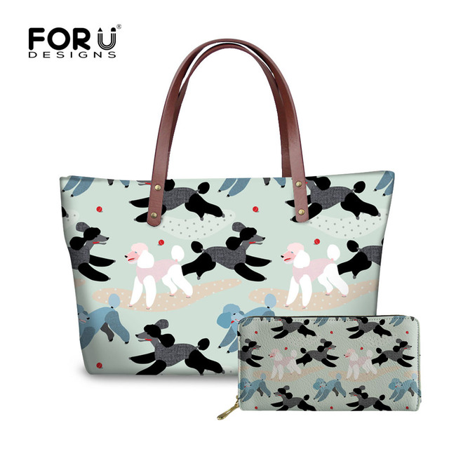 FORUDESIGNS Women Bag Set Poodle Printing Handbags Bags for Woman Shoulder Bag Ladies PU Leather Purse Causal Totes Bolsas Femme