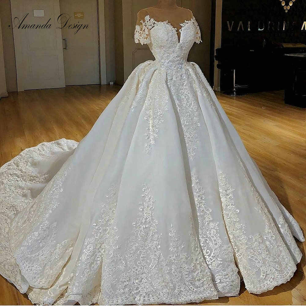 nikah elbisesi Short Sleeve Lace Applique Wedding Dress