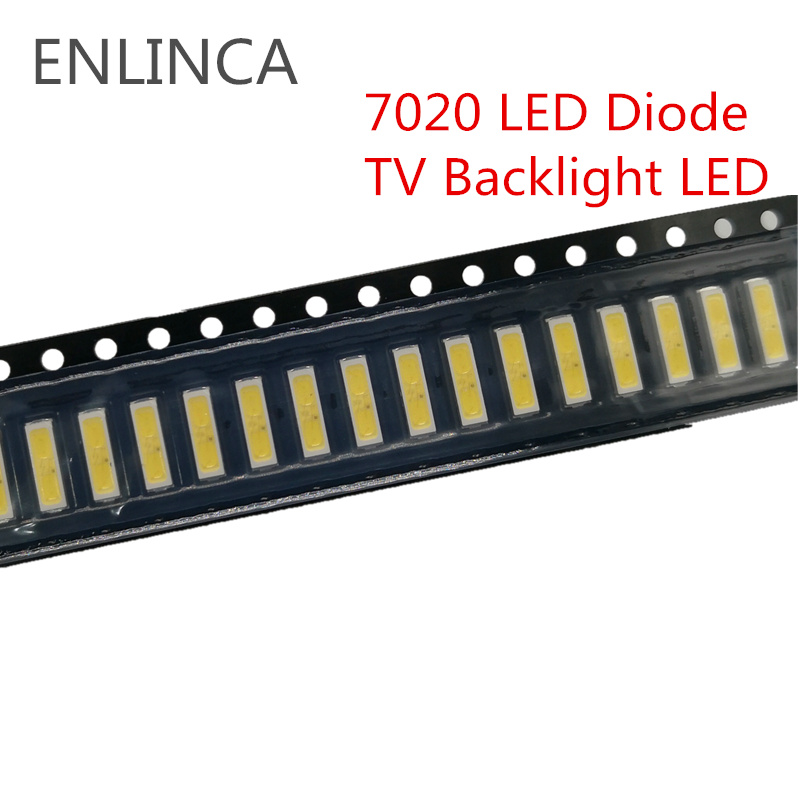 50-100pcs SMD LED 6V 1W/3V 1W Cold White 7020 LED Diode LCD Back light Lighting Television Backlit Back-light LED TV Backlight