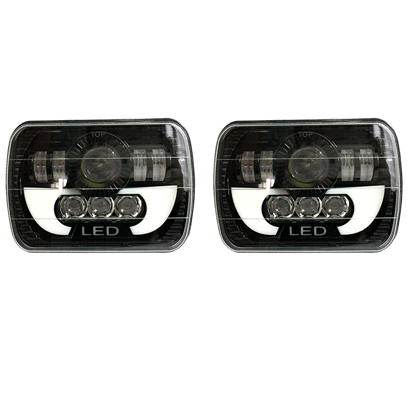 FADUIES 5 x 7 6X7 Projector Rectangular Headlights Assembly With Angel Eyes DRL For 87 95
