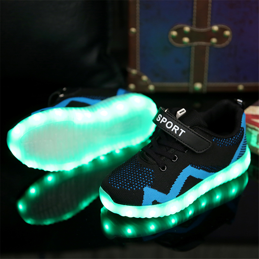 Luminous Glowing Sneakers Children Kids Led Shoes Breathable Zapatos Shining Children Usb Charging Kids Led Shoes 50Z0005 tutuyu camo luminous glowing sneakers child kids sneakers luminous colorful led lights children shoes girls boy shoes