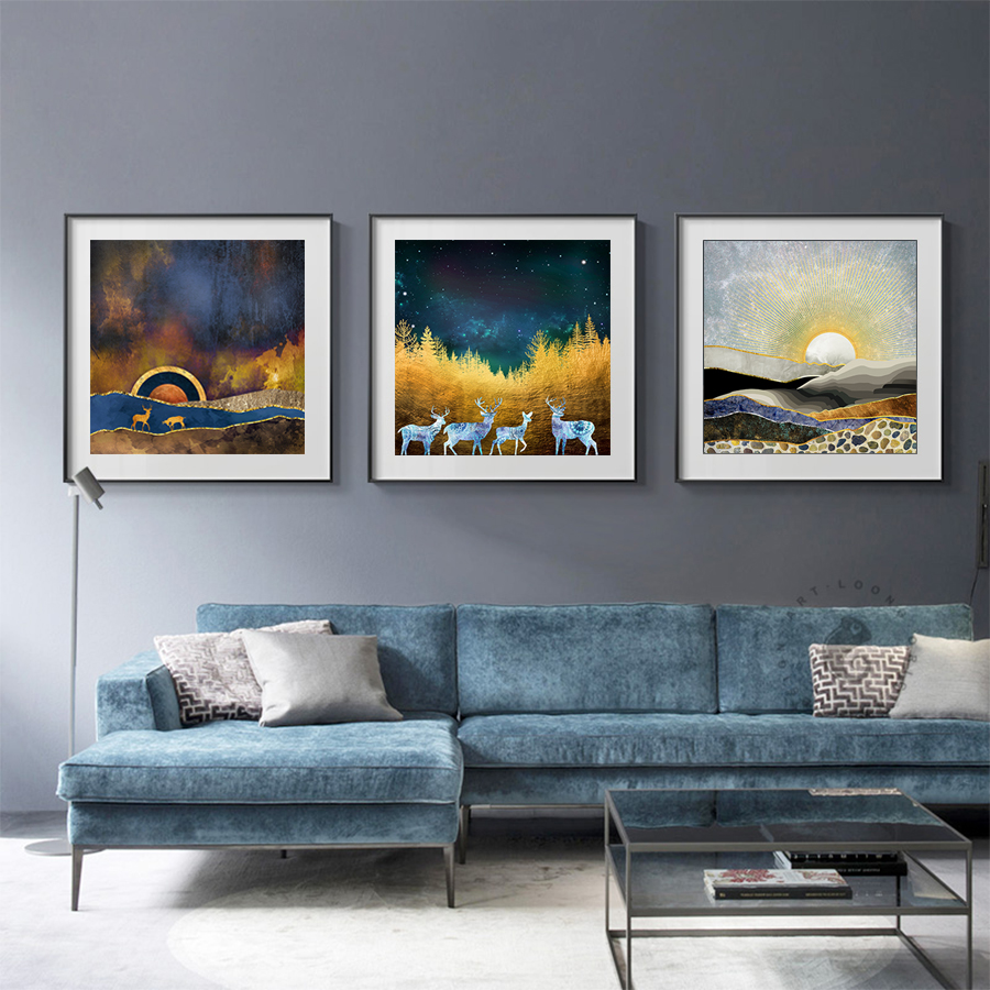 Abstract Wall Art Canvas Painting Sunrise Mountain and Deer Oil Painting Canvas Prints Wall Pictures for Living Room Home Decor