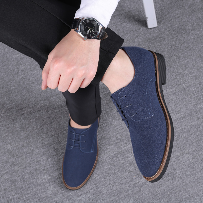 2020 High Quality Suede Leather Soft Shoes Men Loafers Oxfords Casual Male Formal Shoes Spring Lace High Quality Suede Leather Soft Shoes Men Loafers Oxfords Casual Male Formal Shoes Spring Lace-Up Style Men's Shoes