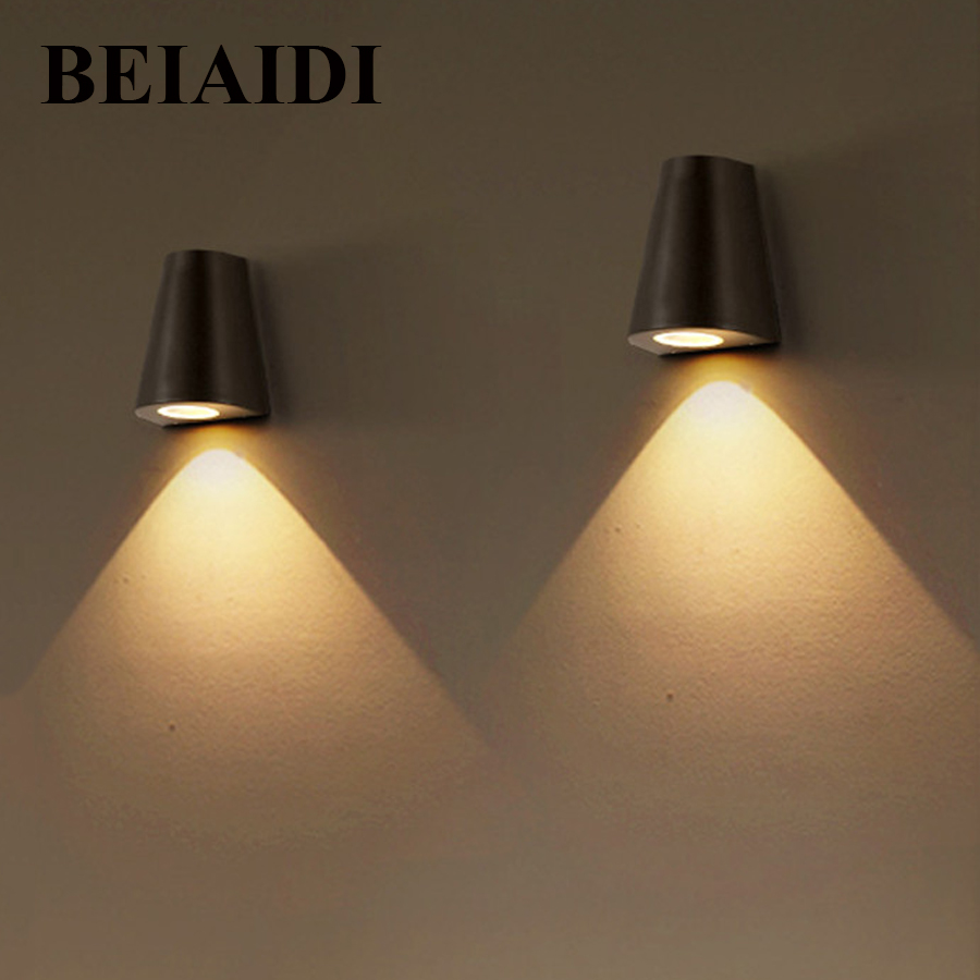 BEIAIDI 5W IP65 Waterproof LED Wall Lamp Up and Down Outdoor Indoor Modern Wall Lamps Living Room Porch Garden Sconce light black led wall light waterproof ip65 stainless steel up down gu10 double wall lamp indoor outdoor wall lamp ac 85 265v