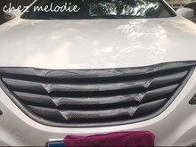 FRP con impresión de transferencia de agua de fibra de carbono parrilla delantera de coche sin emblema para Hyundai SONATA 8 2013 2018, reemplazando OEM one