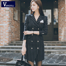 Vangull 2019 High Quality Office Lady Suit Women Long Slim Striped Double Breast