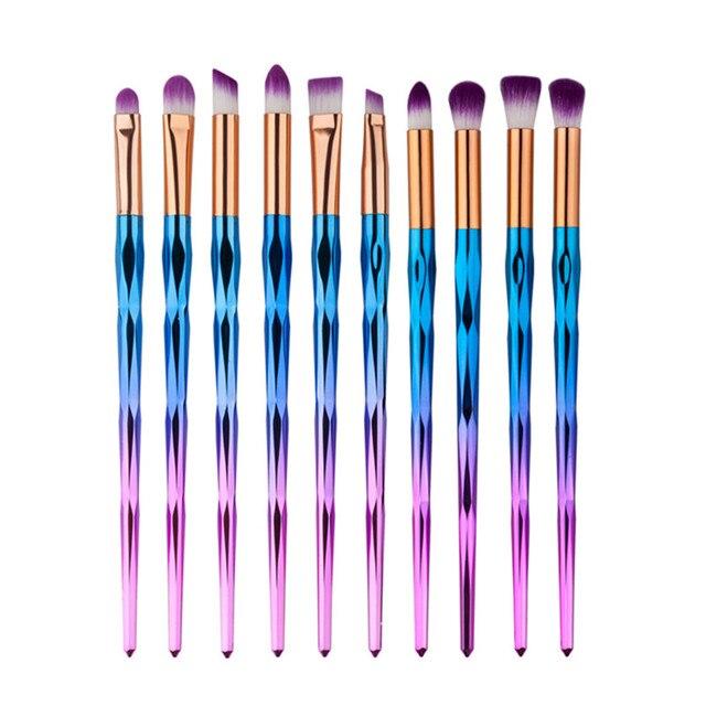 10pcs Makeup Brushes Set Diamond rainbow handle Cosmetic Foundation Eyshadow Blusher Powder Blending Brush beauty tools kits