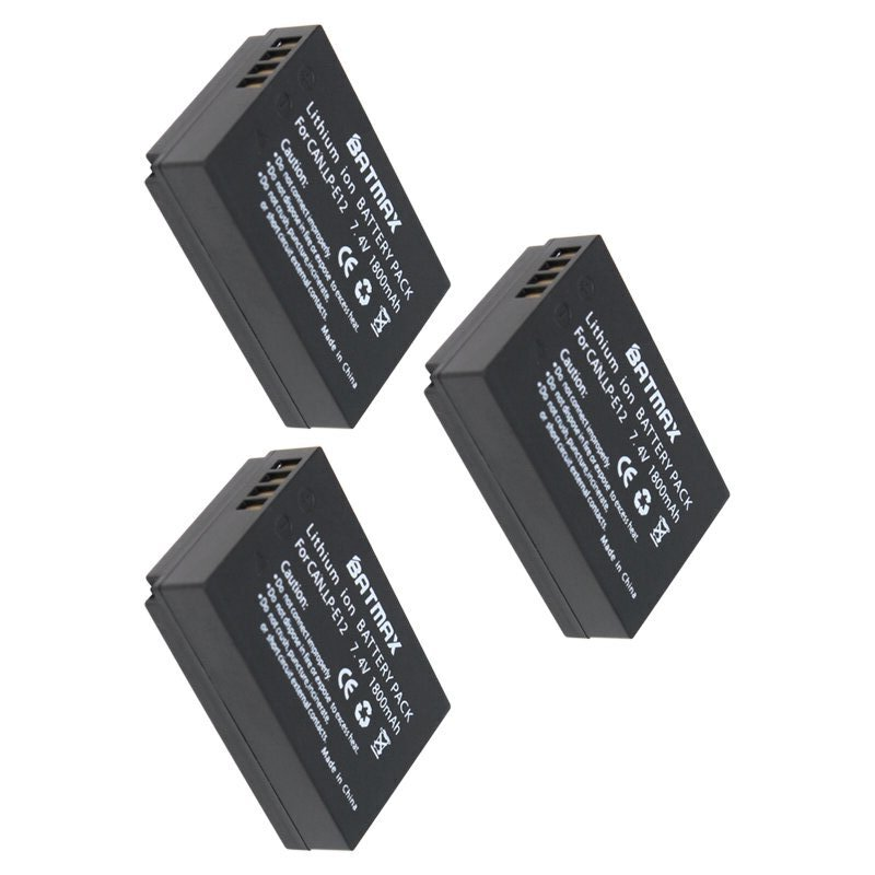 7.4v 1800mAh LP-E12 LPE12 LP E12 Rechargeable Camera batteries(3 Pack) for Canon EOS M M2 100D EOSM EOSM2 EOS100D 2pcs lp e12 lpe12 lp e12 replacement batteries dual usb charger for canon eos m100 m 100d kiss x7 rebel sl1 eos m10 dslr