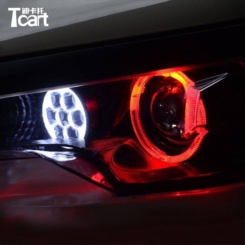 Tcart High quality LED single lights high beam len with devil eyes LED devil eye projector headlights for BMW E60 E61 e46 e90
