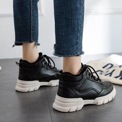 La Femmes top 2018 Tendance Étudiant Coréenne blanc Velours Sauvage Le Hiver De Casual à Version Chaussures Haute Mi Noir Hauts Talons Plus wOSqO8X