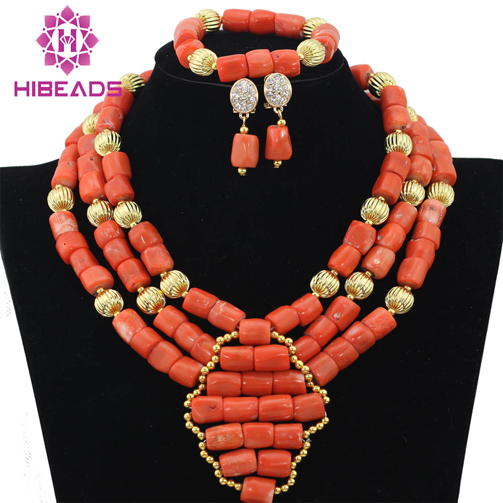 Orange Coral Beads African Jewelry Sets Gold Nigerian Wedding African Coral Beads Jewelry Set Necklace Free Shipping ABF266 marvelous orange african coral beads jewelry set nigerian wedding african beads necklace set 2016 new free shipping cj461