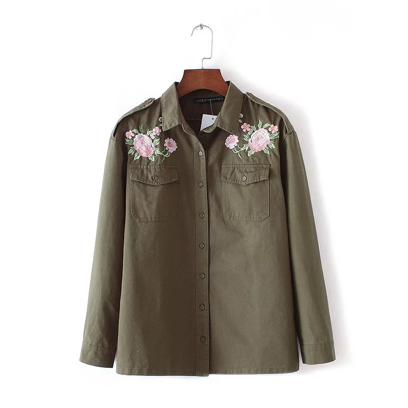 Autumn Floral Embroidery Women Coat Jackets Casual Female Full Sleeve Turn Down Collor Pockets Jacket Tops New Arrival