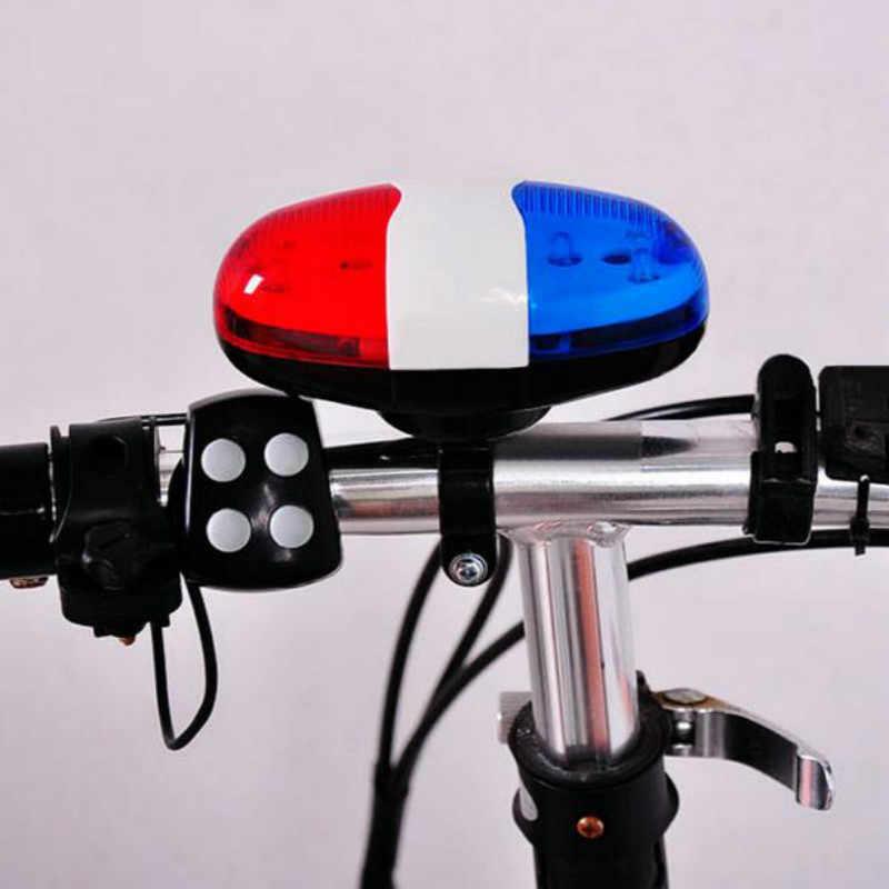 Vélo vélo cyclisme 4 sons 6 LED Police voiture sirène électrique klaxon cloche