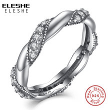100%925-Sterling-Silver Finger-Ring Jewelry Crystal Sparkling-Cubic-Zirconia Authentic