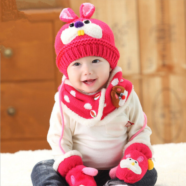 3 pcs baby girl knitted hat scarf and glove set children new 2018 winter  fashion kids boy navy blue rabbit hat christmas gift 3a5c4afb961c