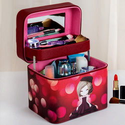 Double-deck Women Fashion Cosmetic Bag Big Travel Lingerie Bra Underwear Handbag Makeup Toiletry Storage Organizer Case Mirror