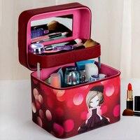 Double Deck Women Fashion Cosmetic Bag Big Travel Lingerie Bra Underwear Handbag Makeup Toiletry Storage Organizer