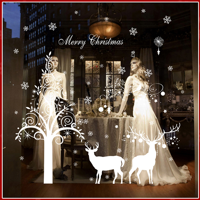 WHISM DIY Happy New Year Wall Stickers Snowflake Christmas Tree Art Poster Shop Window Murals Glass Decals Waterproof Wallpaper