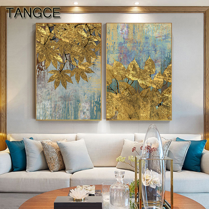 Abstract Golden Foil Leaf Painting Poster Print Big Gold Wall Art Pic For Living Room Aisle Cuadros Abstractos Dorados Tableaux