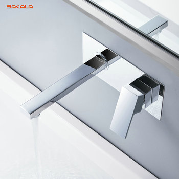 BAKALA  Free shipping Bathroom Basin Sink Faucet Wall Mounted Square Chrome Brass Mixer Tap With Embedded Box LT-320R 1