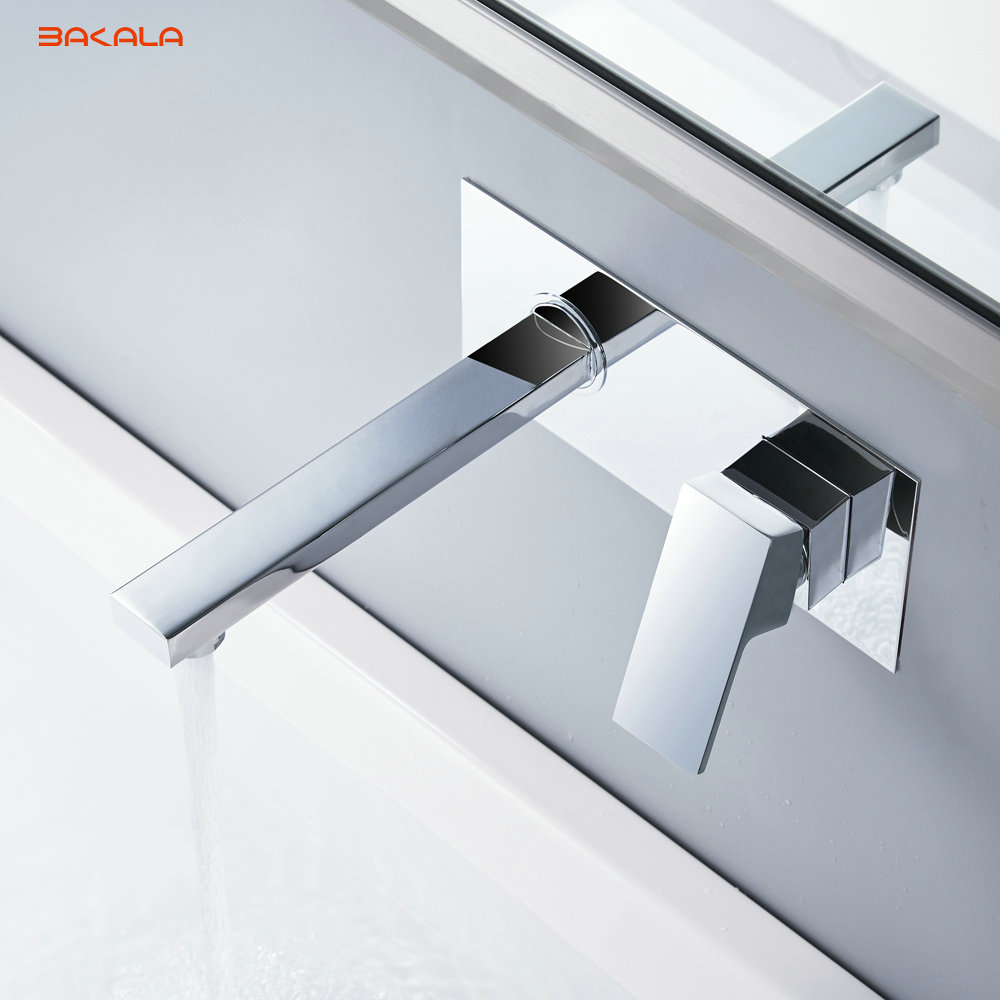 BAKALA  Free shipping Bathroom Basin Sink Faucet Wall Mounted Square Chrome Brass Mixer Tap With Embedded Box LT-320R bakala free shipping bathroom basin sink faucet wall mounted waterfall chrome brass mixer tap lt 324