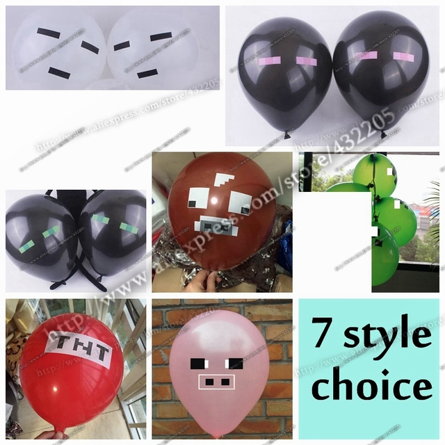 1000PCS 1lotMinecraft TNT Creeper Big Cow Balloons Latex Minecraft Toys Festive Party Decorations