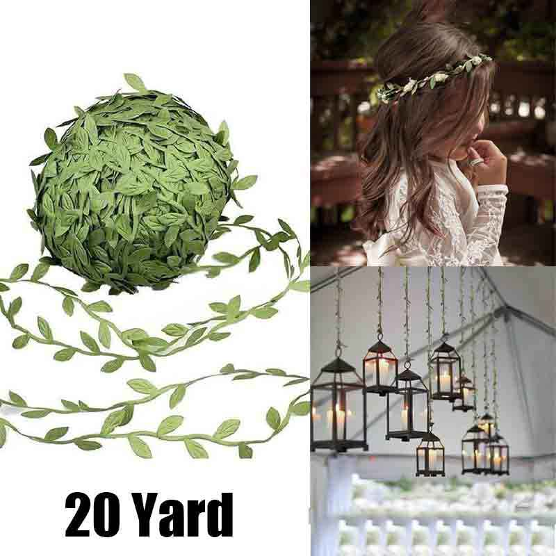 20 Yard Simulation Leaf Vine Green Leaf Cane DIY Garland Making Material for Wedding Box Decoration Party Decoration