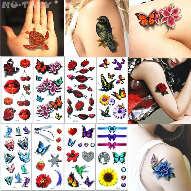 Nu-TATY 3dNO33-40 8PCS/LOT Temporary Tattoo Body Art Flash Tattoo Stickers 19*9cm Waterproof Styling Tatoo Home Decor Sticker