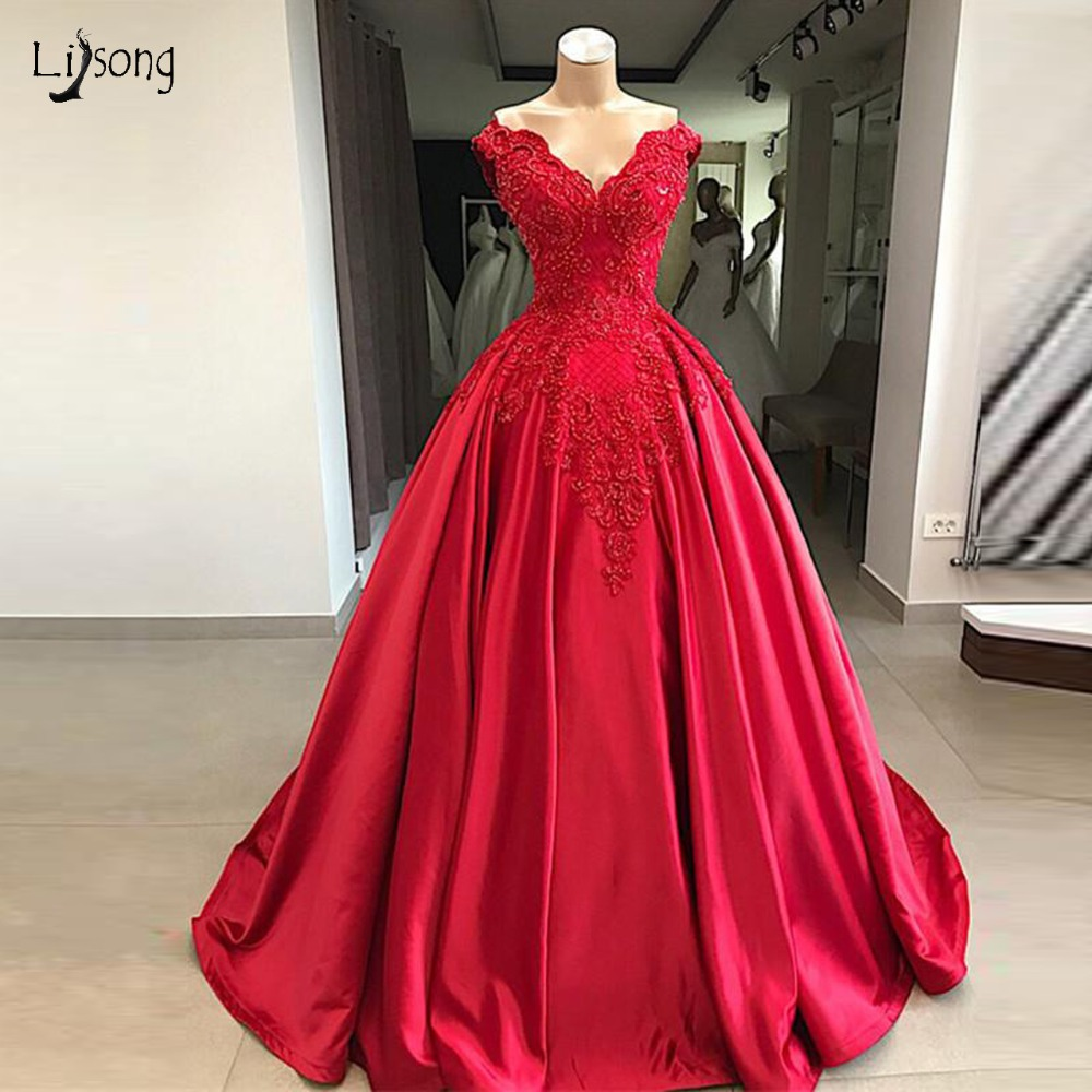 Saudi Arabic Red Beaded Prom Dresses 2019 Delicate
