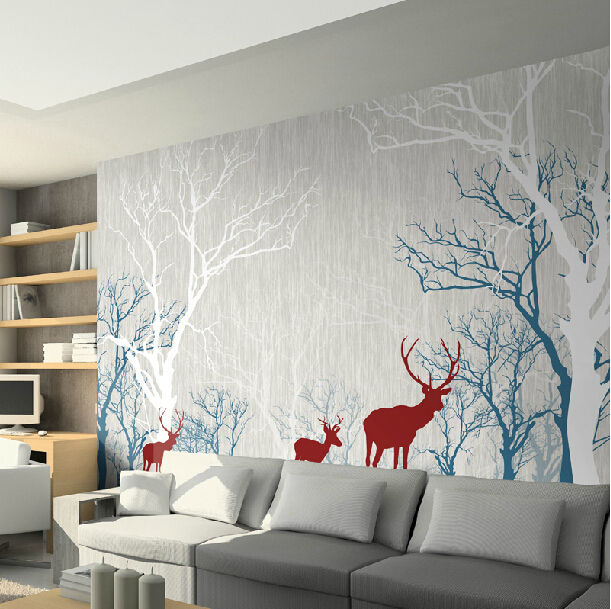 Superbe Simple High Grade Non Woven Large Mural Moonlight Forest Deer Sofa  Videowall Living Room