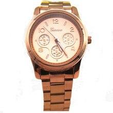 Высокое качество сплава стальной ленты с покрытием дизайн кварцевые наручные мужские часы мода женева золотые часы