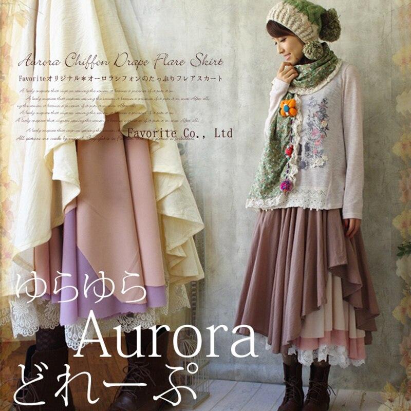 Japanese Sweet Multi Layered Ruffle Aurora Lolita Skirt Lace Embroidery Hem Mori Girl Women Asymmetric Princess Skirts V003 ruffle hem lace skirt